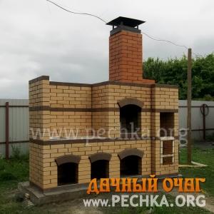 Барбекю-комплекс из облицовочного кирпича с арками, фото 1