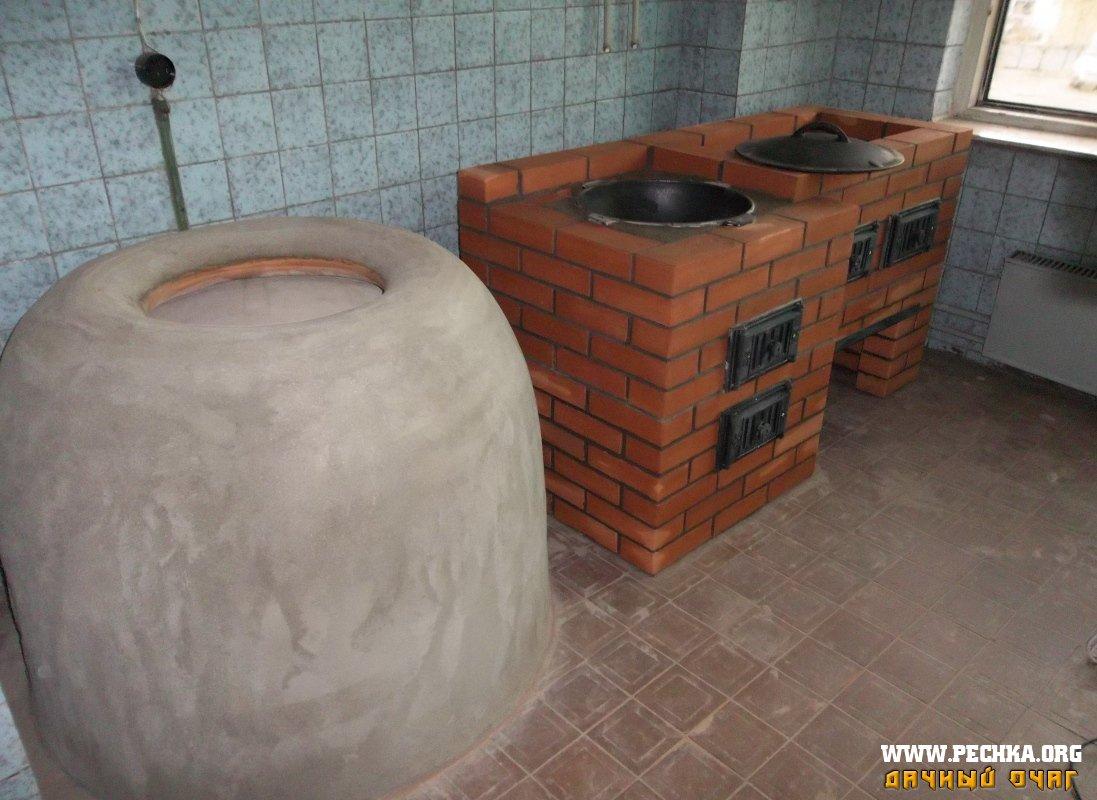 Как сделать печь-барбекю с казаном и коптильней своими руками