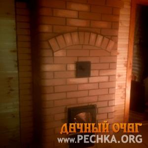 Большая отопительная печка с закругленным кирпичом, фото 1